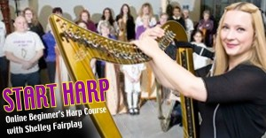START HARP flyer showing Shelley Fairplay with her harp